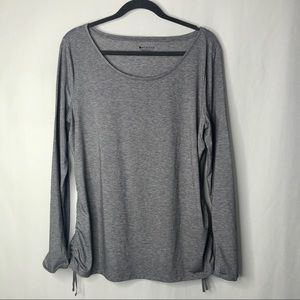 Athleta long sleeve ruched sides gray top XL
